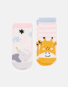 Joules Baby Girls Neat Feet Character  Socks 2 Pack - Giraffe Elephant - 0M-6M