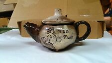 CRUDE HAND MADE 2 TONE BROWN CLAY/POTTERY HEN ''TEA TIME'' TEAPOT COUNTRY DECOR