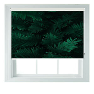 Dark Green Tropical Fern Bold Printed Photo Black Out Roller Blinds 23456ft