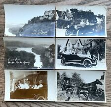 RARE LOT of 6 Automobile HORSE & Buggy Ha HA TONKA Postcards c 1915 Pre WW1 RPPC