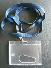 Card Guard | ID Card Holder Combo Rigid Plastic with Colour Lanyard Neck Strap