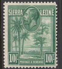 Sierra Leone 1932 George V 10/- Green SG 166 lightly mounted mint