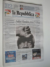 la Repubblica  giornale 06-12-2013  MORTE NELSON MANDELA