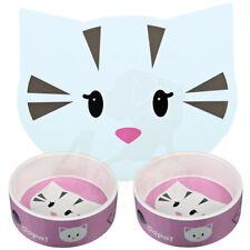 2 x Trixie Pink Mimi Ceramic Cat Kitten Bowls 0.3 l/ø 12 cm & Matching Placemat