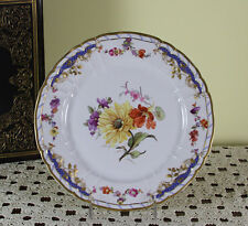 Collectors & Historic Cabinet Plate, Hand-Painted multi-colored flowers