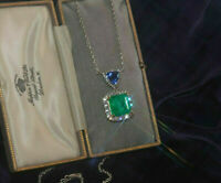 18K White Gold Over 12.78 Cts Doublet Emerald Tanzanite Necklace Huge Pendant
