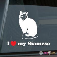 I Love my Siamese Sticker Die Cut Vinyl - Ver 2 meezer cat feline kitten