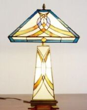 Tiffany Style Table Lamp Stained Glass Base Vintage Handcrafted Shade Art Light