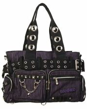 f48f19714dbd BANNED STRIPED SHOULDER BAG Handcuff Canvas Handbag Gothic Rock Black PURPLE