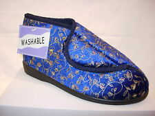 Ladies Womens Wide Touch Velcrois Fastening Washable Boot Slippers Washable Care