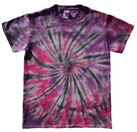 Pink & Purple TIE DYE T SHIRT Spiral Fashion Tye Die Tshirt Festival Rainbow Tee