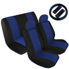 Two Tone Car Seat Covers Comfort Cloth Black & Blue Front Rear Full Set CS