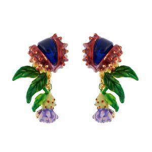 LES NEREIDES CHIMERICAL FLOWER & BLUE STONE FRENCH GOLD PLATED PIERCED EARRINGS
