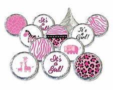 Pink Safari Girl Baby Shower Party Favor Candy Decoration Stickers Set of 324