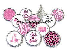 324 Pink Jungle Safari Girl Baby Shower Stickers for Hershey Kisses Favor Decor