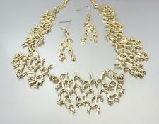 GORGEOUS Urban Anthropologie Gold Plated Coral Motif Links Necklace Earrings Set