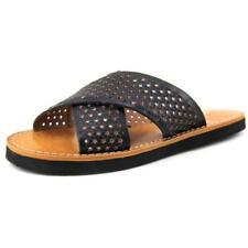 Calzado de mujer sandalias con tiras de color principal negro de piel
