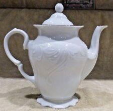White Scallop Gold Trim Teapot Tea Pot w/ Lid RARE! Free Shipping