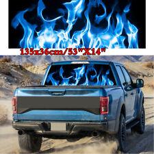 "Car SUV Rear Window Blue Burning Flame Graphic Decal Tint Film Sticker 53""X14"""