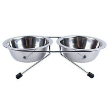 Double Pet Bowls Stainless Steel Dog Cat Twin Food Water Dish Feeding Stand Bowl