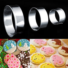 New 1Set Stainless Steel Round Circle Shaped Cookie Cutter Biscuit Pastry Molds