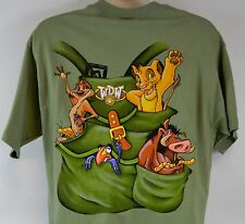 Walt Disney World Lion King Backpack T-Shirt (Men's L Large) Olive Green Tee