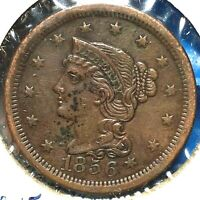 1856 1C Braided Hair Cent, Upright 5 (56324)