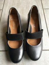 Clarks Softwear Ladies Black Leather Upper Wedge Shoes Size 6 D Good Condition