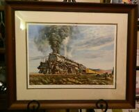 """Vintage Signed, Matted & Framed """"Highballing On The Big Boy"""" Print by Xaras Exc"""