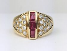 18K Yellow Gold Natural Baguette Ruby & Diamond Women's Cocktail or Pinky Ring