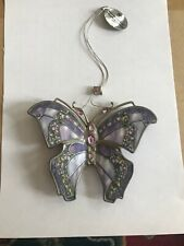 Bradford Editions SILKEN WINGS Butterfly Ornament Porcelain Jeweled Orchid