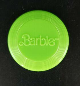 1990's Mattel Barbie Doll Green Frisbee with Barbie Logo
