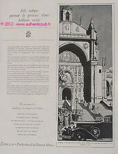 PUBLICITE AUTOMOBILE CADILLAC MADRID EGLISE SAN JERONIMO DE 1929 FRENCH AD CAR