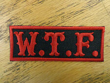W.T.F. EMBROIDERED PATCH BLACK AND RED MADE IN U SA