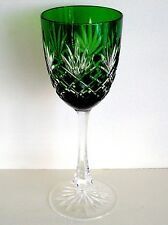 FABERGE ODESSA ED 2 EMERALD CASED CUT TO CLEAR CRYSTAL WINE GOBLET  8 3/8""