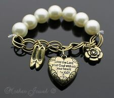 """15MM FAUX PEARL RELIGIOUS GOLD GP """"LOVE THE LORD"""" """"LUKE 10:27"""" CHARM BRACELET"""