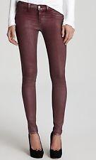 Nwt $227 J Brand 901 Super Skinny Low Rise Coated Jeans Pants ~Rust Burgundy *30