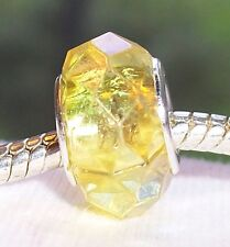 Yellow Iridescent AB Faceted Crystal Acrylic Bead fits European Charm Bracelets