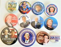 12 Presidential Campaign Buttons Trump Clinton Obama McCain  more SET 72BB