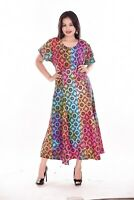 Indian 100% Cotton Women's Long Dress Tie dye Multi Color Frock Plus Size