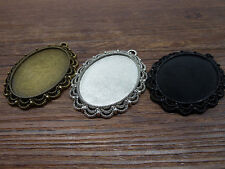 3/15pcs 40x30mm Antique Silver/black Cameo Cabochon Base Setting Charm Tray 5939