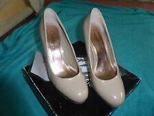 DOROTHY PERKINS LADIES ROUND TOE PLATFORM COURT SHOES SIZE 6 - DARK NUDE COLOUR