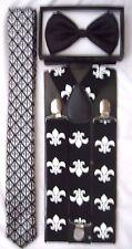 FLEUR DE LIS NEW ORLEANS SAINTS NeckTie,Bow tie & Adjustable Y-Back Suspenders