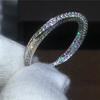 1.00 Ct Round Cut Diamond Anniversary Band Ring For Women's 14k White Gold Over
