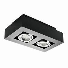 LED Ceiling Shop Display Lamp 2 Spot Boxed Surace Mounted Black Stylish Tiltable