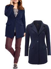 New Ladies Heine B C  Navy Jacket Rib Textured Longline Collared Coat Size 10-18