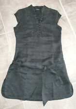 Blouse tunique chemise noire XANAKA taille 38 col mao 100% ramie