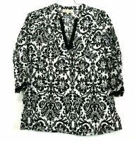 Jones New York Sport Women's Medium White Black Design V Neck Long Sleeve Blouse