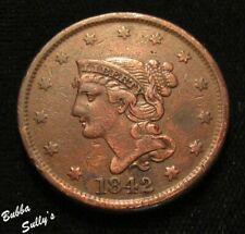 1842 Braided Hair Large Cent <> Large Date <> Vf Details