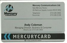 More details for mev040 mercury visiting card andy coleman mint phonecard